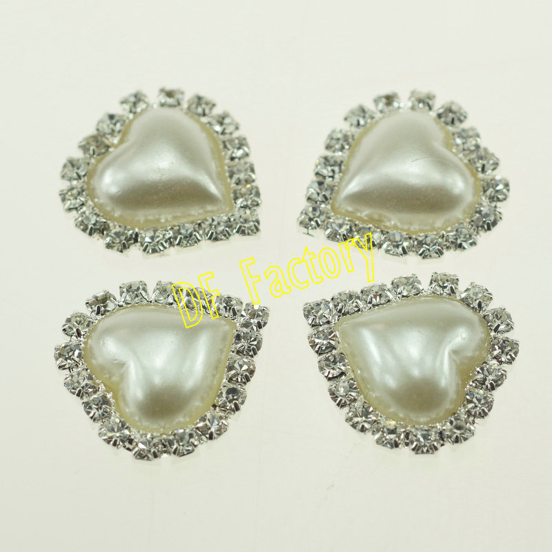 ZK053 22mm Heart Shaped Pearl Sticker For Phone Case, Flat Back Rhinestone Buttons For Wedding Invitation(20 /lot(China (Mainland))