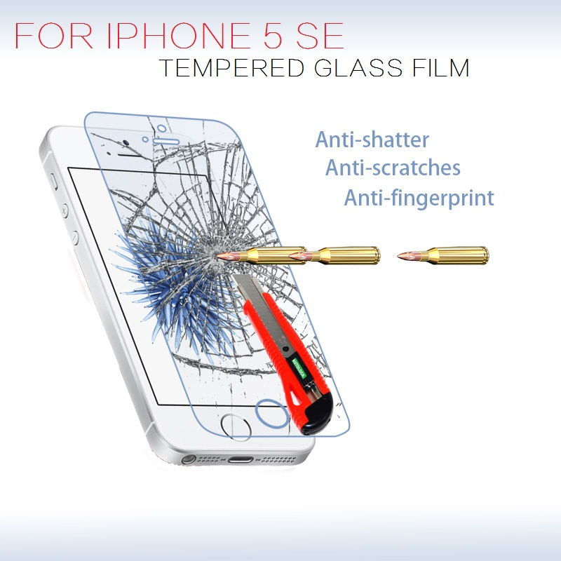 """Premium front Tempered Glass Film For iphone SE 4.0"""" Anti-shatter HD LCD Screen protector Protective films for Apple iphone 5SE(China (Mainland))"""