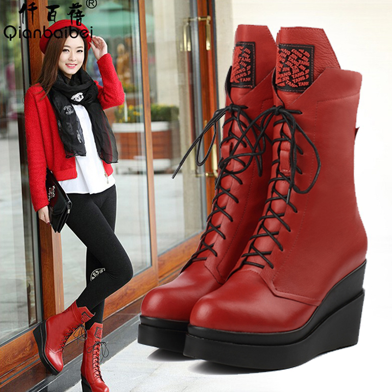 Thigh high boots for plus size women platform womens shoes wedges high heels womens boots  genuine leather red boots<br><br>Aliexpress