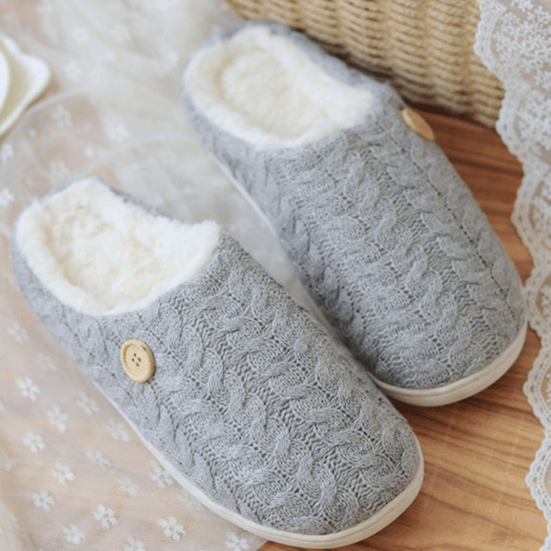 High Quality Autumn&Winter Cute Lovers Warm Cotton-padded Knitting Wool Bow Antiskid Women&Men Home Floor Slippers Plush Shoes(China (Mainland))