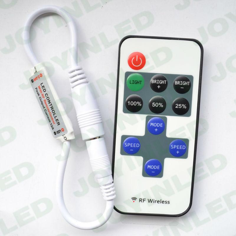Free shipping Wireless Wholesale RF Mini single color LED Strips Remote Controller DC12V-24V 5050 3528 single color strip lights<br>