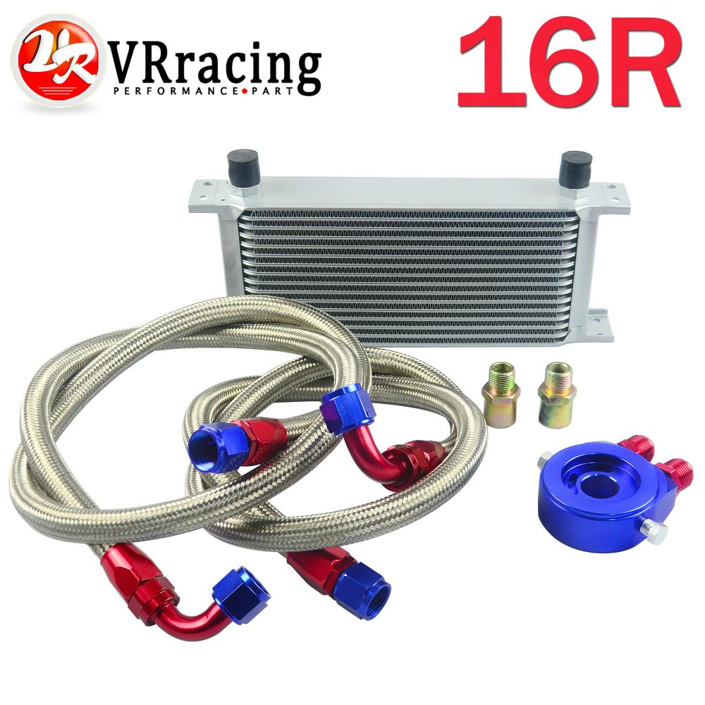 VR-AN10 OIL COOLER KIT 16ROWS TRANSMISSION OIL COOLER SILVER+OIL FILTER  ADAPTER BLUE+STAINLESS STEEL BRAIDED HOSE VR7016+6721BR