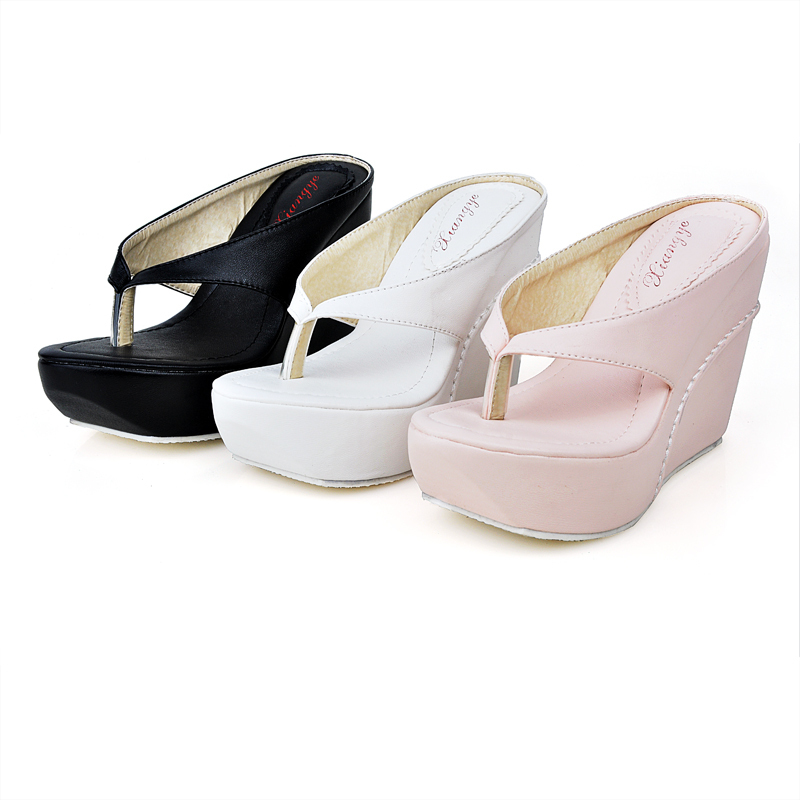 Plus Size 34-45 Hot 2015 High Heels Women Flip Flops Summer Sandals Platform Wedges Slippers Girl's Fashion Beach Shoes(China (Mainland))