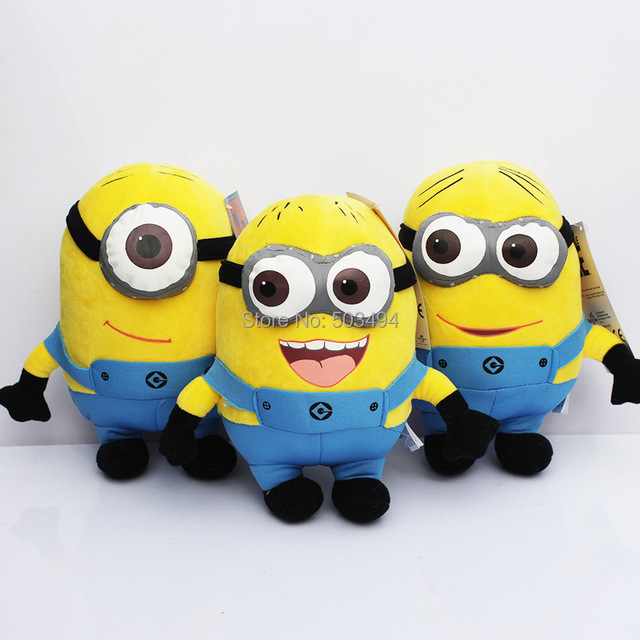 """Despicable Me Plush Toy 3PCS Minions 9"""" Movie Figures Great Stuffed Animal Doll Dave Jorge Stewart Free Shipping"""