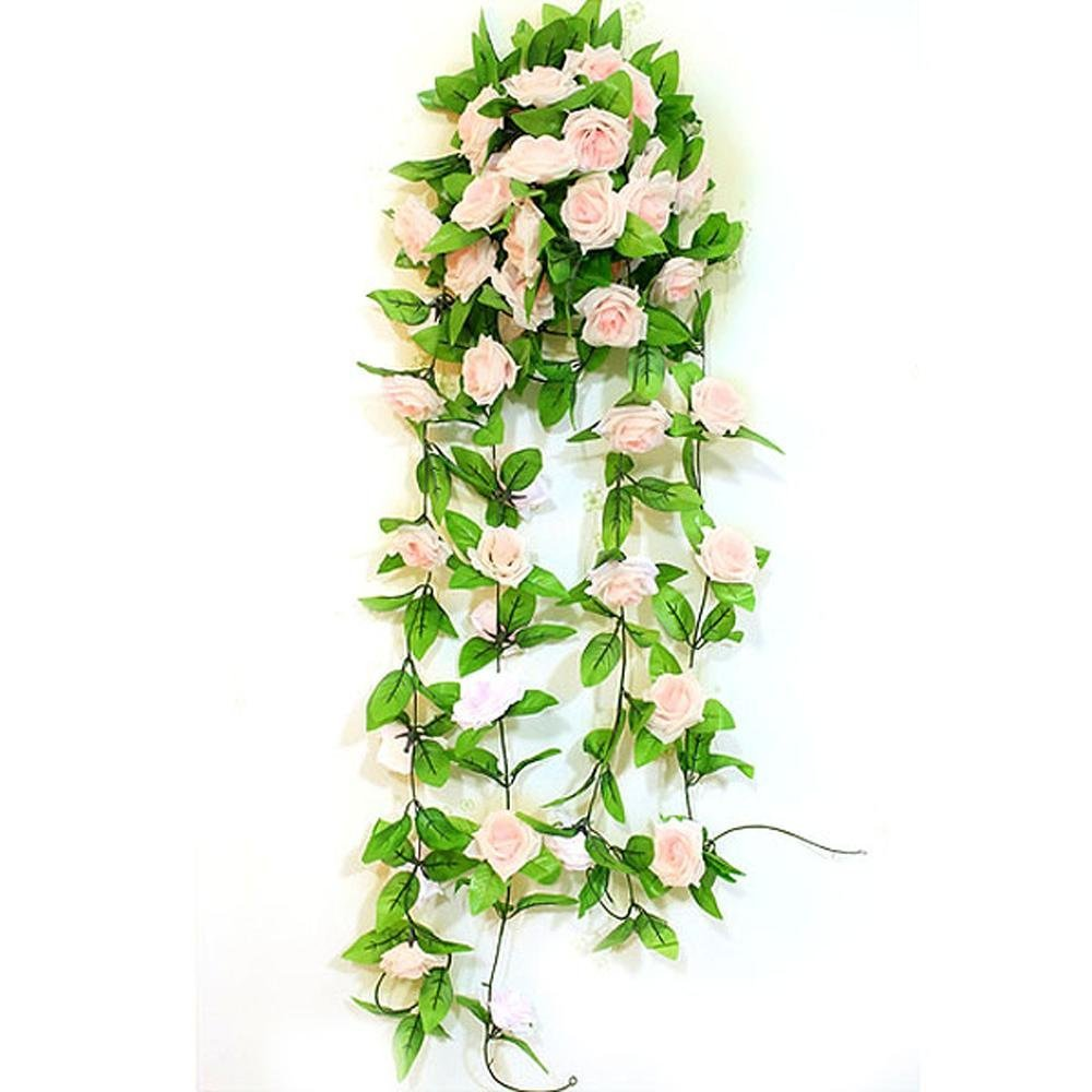 2015 hot free shipping Artificial Light Pink Rose Leaf Vines Garland Plants Home Decoration,IN STOCK(China (Mainland))