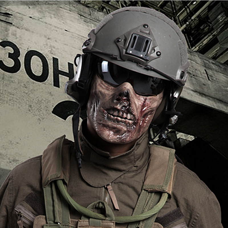 Гаджет  Paintball Airsoft Mask Half Face Skull Mask Military Equipment Mascara Army Horror Tacitcal Masks Halloween Latex Creepy Scary None Безопасность и защита