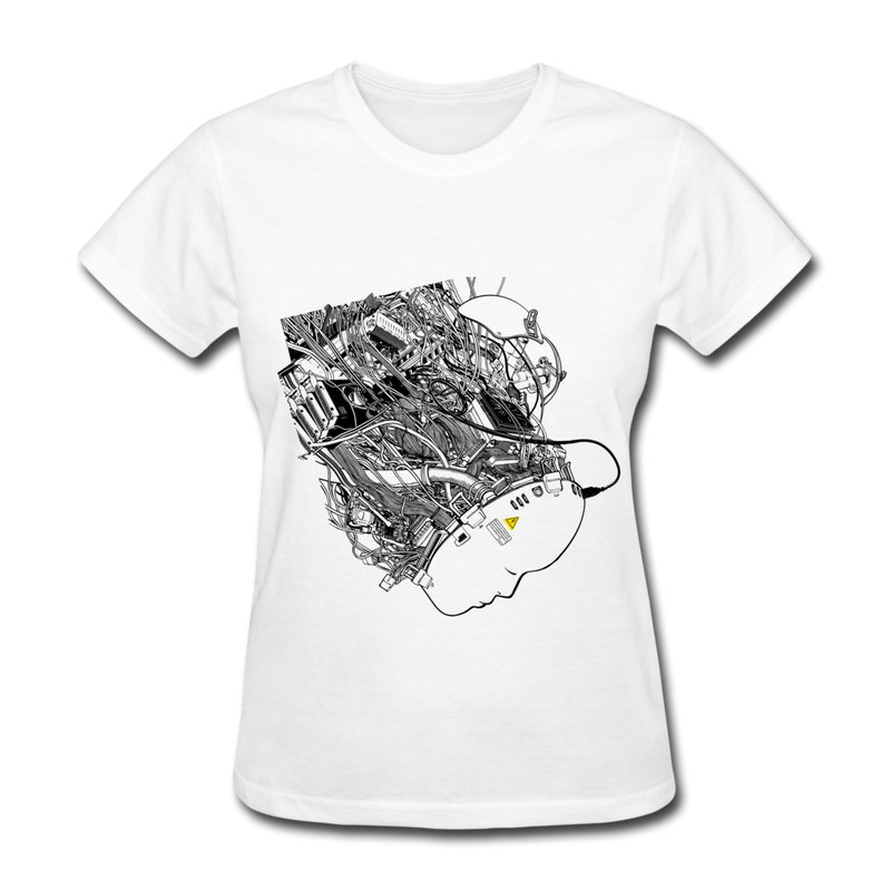 Customize Casual T Shirt Woman Virtual Reality Funny High School T Shirts Women's Slim Fitted(China (Mainland))
