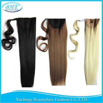 Pony tail For Russia Women Pure Color Ponytail Natural Hair Extensions Xu Chang BHF Hair Products Straight Human Hair