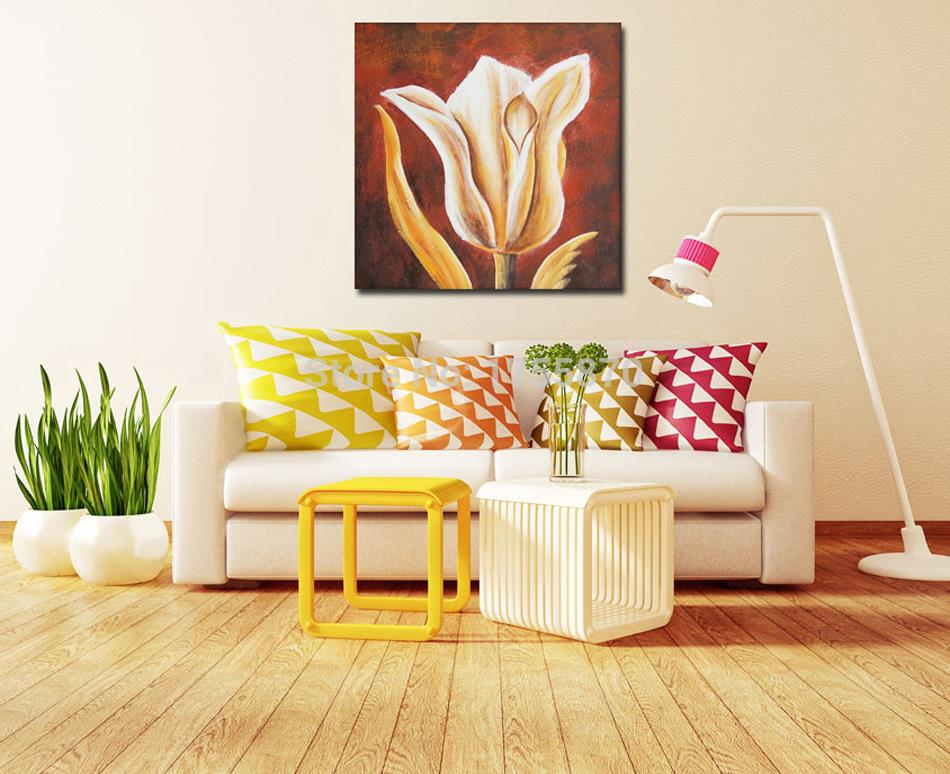 Free Shippig 100% Handpainted light golden flower quite bud Oil Painting On Canvas Wall Art Pictures Home Decoration top sell(China (Mainland))