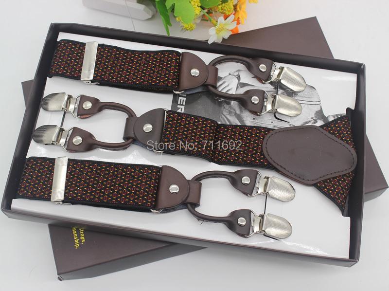 2015 new Genuine Leather Adjustable bretelles 6 Clip-on ligas Elastic jacquard Suspenders fashion Braces Tirantes - NEW GRAND RISE INTERNATIONAL CO.,LIMITED store