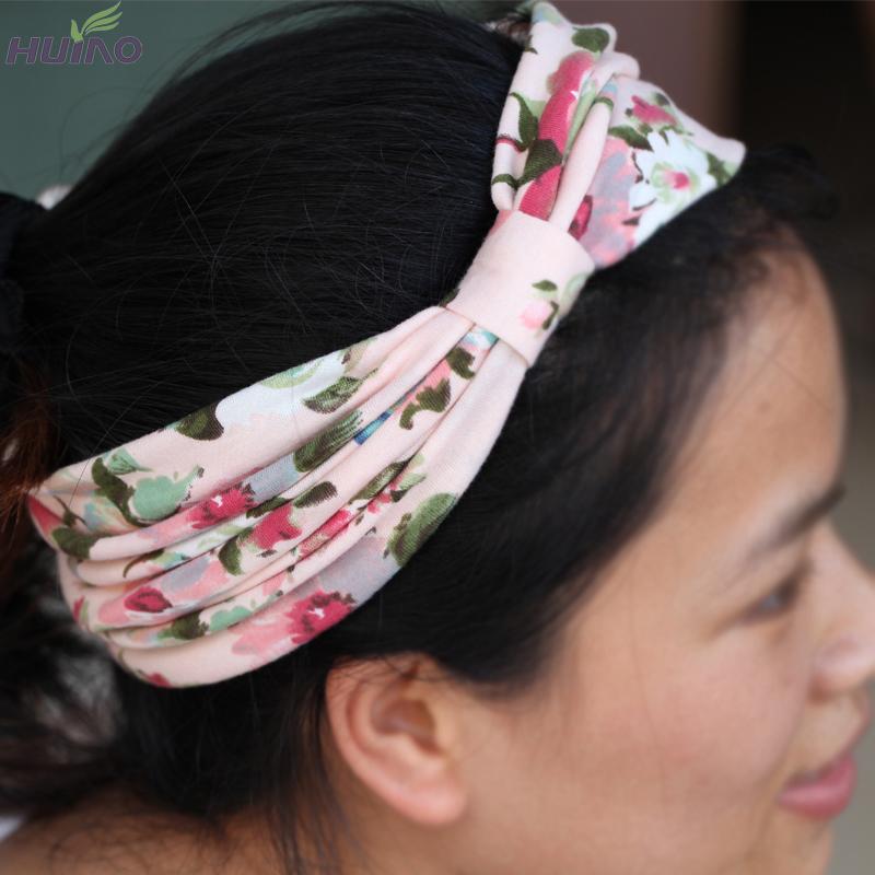 15colors New Arrival Retro Women Elastic Turban Fashion Headband Ethnic Floral Wide Stretch Women Hair Accessories Yoga(China (Mainland))