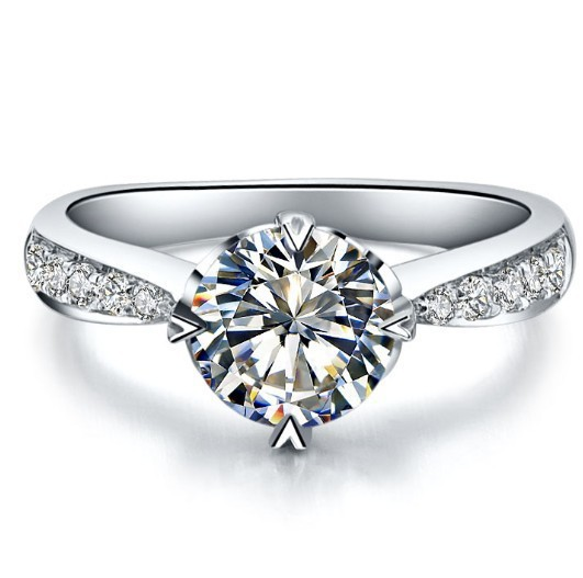 Wholesale Heart Marking Tested 14K Gold Customized Jewelry 0.6CT Synthetic Diamond Engagement Ring Bride Jewellery White Gold(China (Mainland))