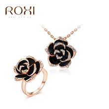 ROXI Free Shipping Elegant Statement Rose Gold Plated Black Rose Flower Set Ring+Necklace Fashion Jewelry For Women PartyWedding(China (Mainland))