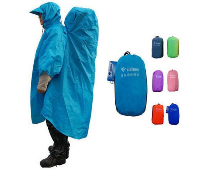 BLUEFIELD Outdoor Camping Hiking Backpack Rain Cover One-piece Raincoat Poncho Rain Cape Free Shipping(China (Mainland))