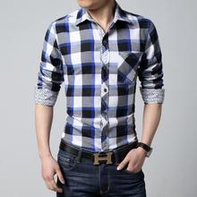 2015 Men long sleeve shirt Camisa slim fit Camisa xadrez masculina Male plaid Shirt man Mens dress shirts Men big size 6xl(China (Mainland))