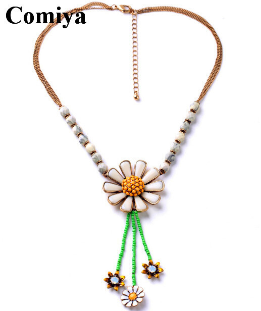 Boho beach summer series pop jewelry sun flower charmed acrylic stones statement necklaces pendants mujer bijoux chain necklace(China (Mainland))