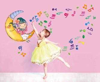 2015 nuevo 55 * 155 cm Sweet Dream Baby pared etiqueta de la historieta de la música nota extraíble decoración para el hogar dormitorio pegatinas por mayor(China (Mainland))