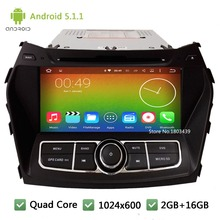 Quad Core 16GB Android 5.1.1 2Din HD 1024*600 WIFI FM RDS Car DVD Player Radio Stereo Screen For Hyundai IX45 Santa FE 2013-2015