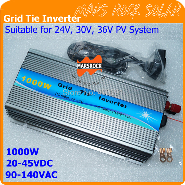 1000W AC90-140V 20-50VDC Grid Tie Inverter, Pure Sine Wave Inverter for 1000-1200W 24V, 30V, 36V PV module and Wind Turbine(China (Mainland))