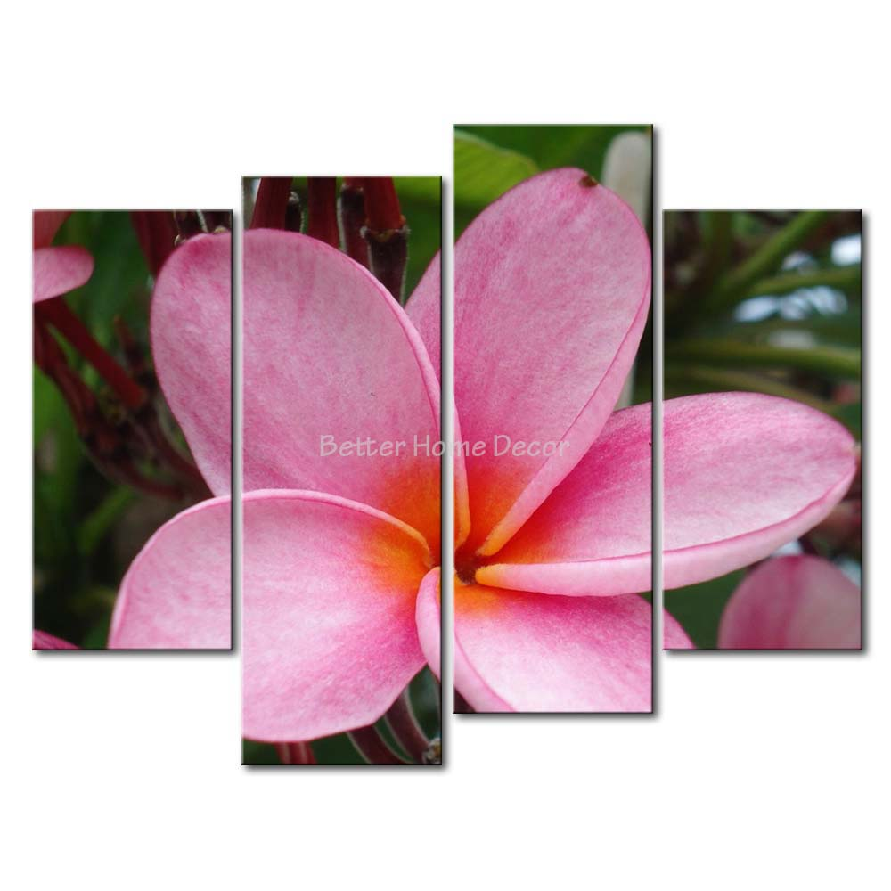 3 piece pink wall art painting pink plumeria in the bushes for Pink wall art