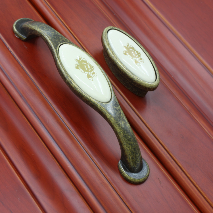 10 pcs/lot ancient brown rose pattern vintage ceramic solid handle/pull/knob for cabinet furniture drawer Pitch row 128(China (Mainland))
