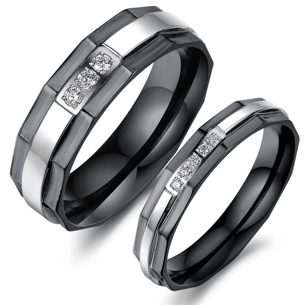 Mens Black Wedding Bands Vulcan Raised Center Diamond Tungsten