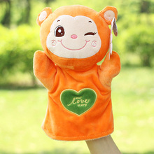 Plush large cartoon hand puppets for kids Parent-child early childhood animal puppet toys fox rabbit tiger fluffy finger puppet(China (Mainland))