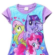 Baby Girls Summer T Shirt Girl Cute My Little Pony T-Shirt Kids Cotton Tee Tops 2017 New Arrival 30D(China (Mainland))