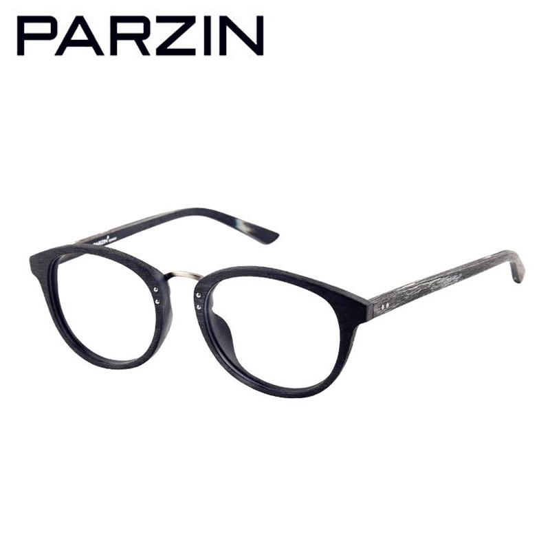 Parzin Wood Grain Eyeglasses Frame Vintage Women Men Clear ...
