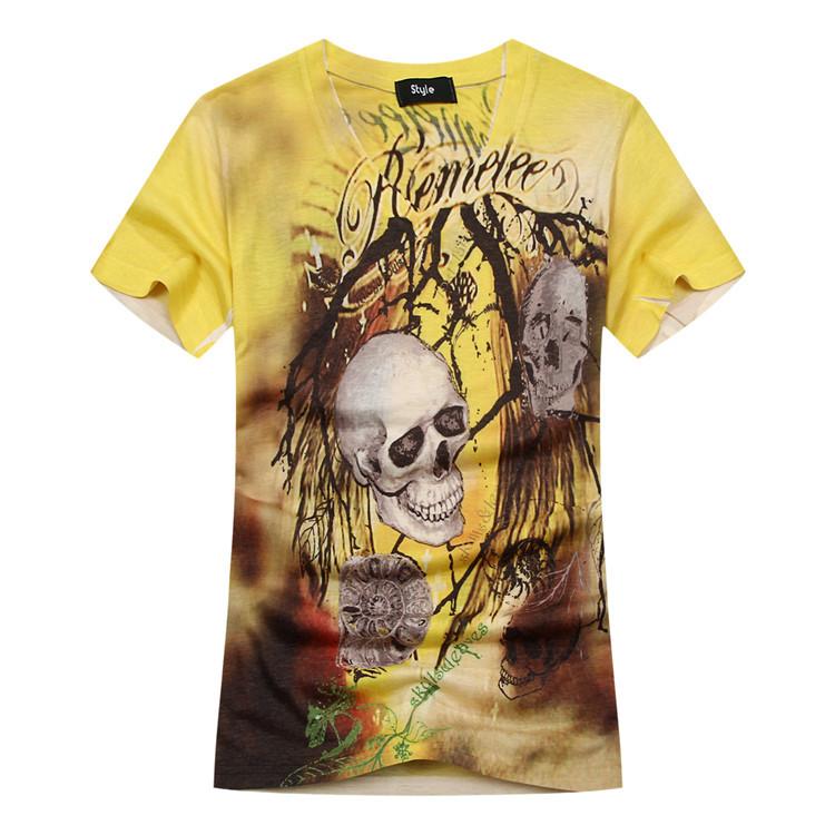 Mens T shirts Fashion 2015 Summer Brand Tshirt Camisetas Hombre Skull Printed 3d T-shirt Men Tee shirt Homme V neck Swag Clothes(China (Mainland))