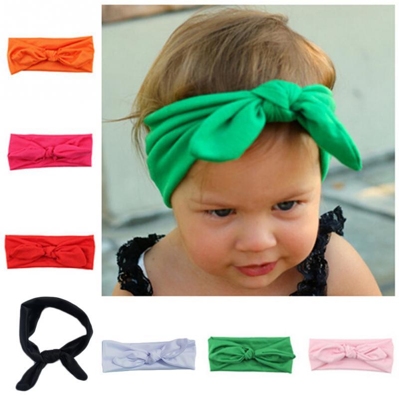 Baby Kids Girls Cotton Bowknot Tie Ear Hairband Headband Headwrap Headwear Bandana Hair Band Accessories 8 Colors(China (Mainland))