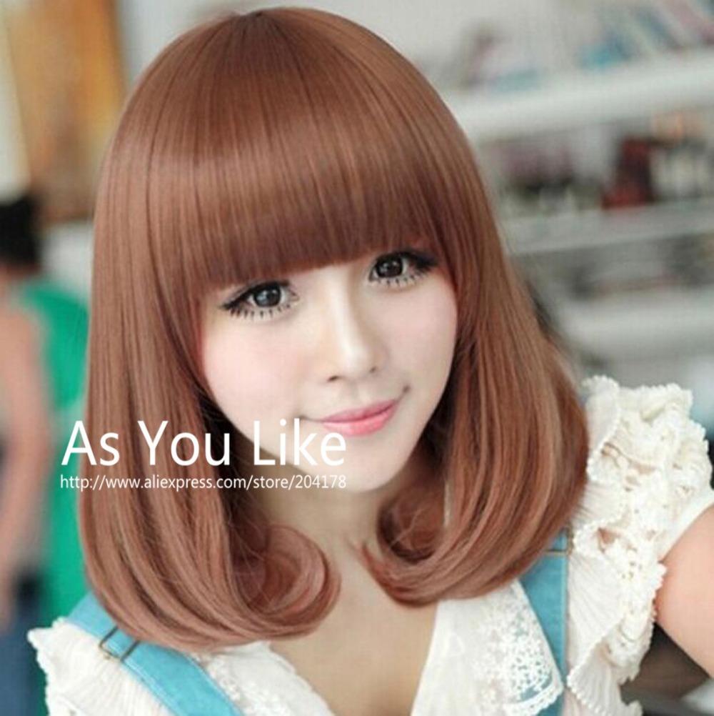 New Arrival Fashion Women Kawaii Design Cute Bangs Sexy Charming Rosa Hair Products Kinky Curly Full Wigs Medium Brown Blonde(China (Mainland))