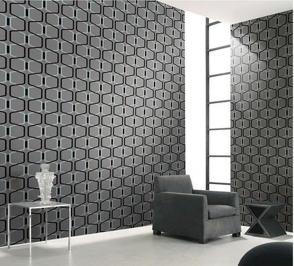 Designer grigio 3d geometrica velluto moderna carta da for Carta da parati in velluto