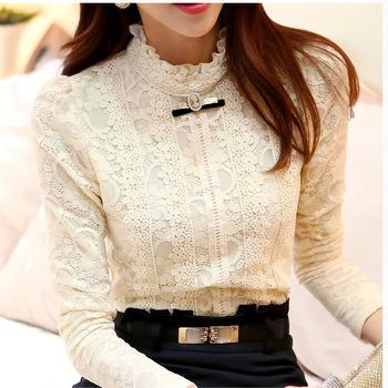 New 2014  Hot women tops Women Clothing  fashion Blusas Femininas Blouses & Shirts Fleece Women Crochet Blouse Lace Shirt 999(China (Mainland))