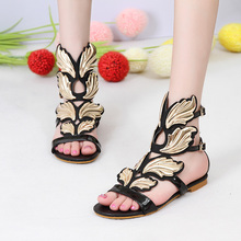 2016 Summer new Mental Gold Leaves Decoration Women Sandals beach,Ankle Buckles flat shoes women Summer Shoes(China (Mainland))