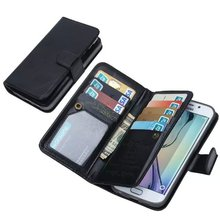 Magnetic Wallet Leather Case for Samsung Galaxy S6 Edge Plus Cover with Card Slot Photo Frame