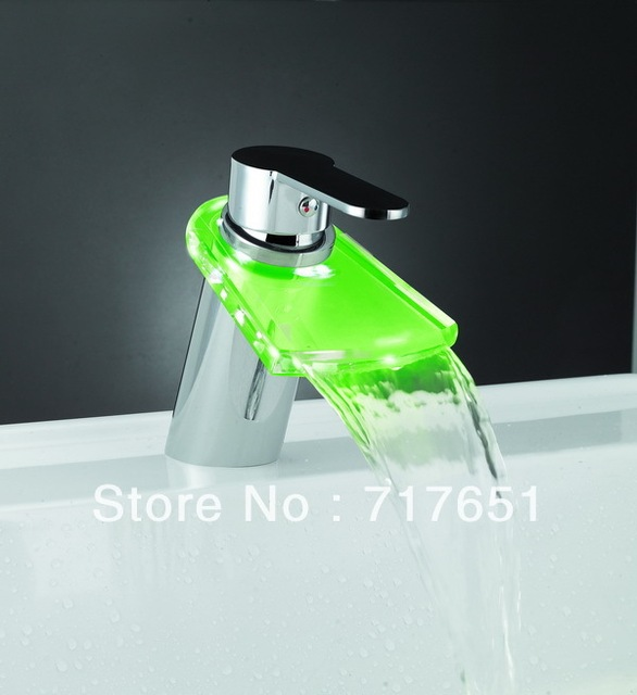 3 Color Romantic LED Waterfall Faucet basin Mixer Tap for Kitchen Bathroom