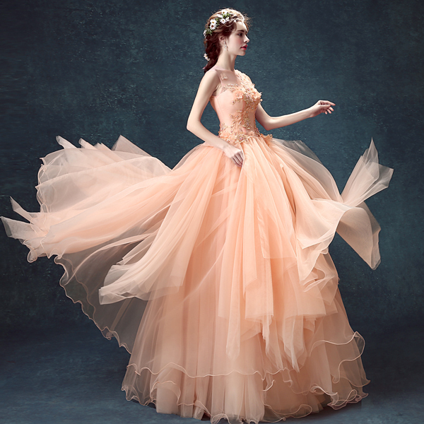 peach wedding ggowns