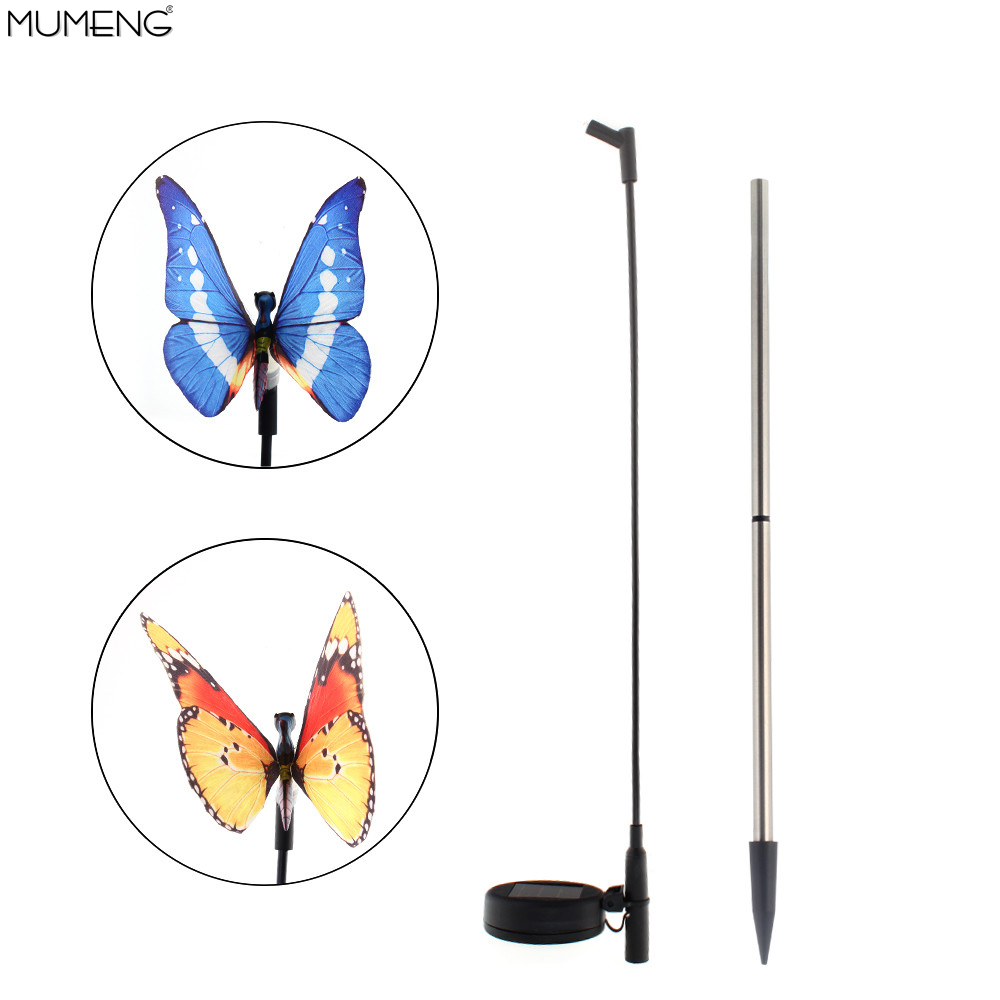 Solar Powered Outdoor Butterfly Figurine Garden Stake Light,Multi-color LED lawn light for Garden Yard Outdoor(Set of 2 pcs)(China (Mainland))