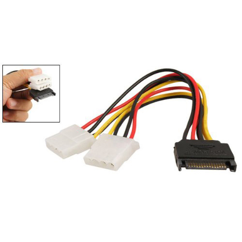 WSFS Hot Sale! Black Sata 15 Pin Male to Female 4 Pin IDE Adapter Power Cable Cord(China (Mainland))