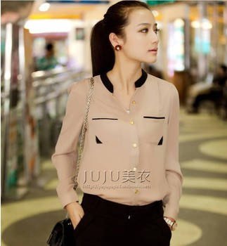 Autumn and winter new  hit color gold buckle small stand-up collar shirt chiffon long-sleeved shirt,Free Shipping!