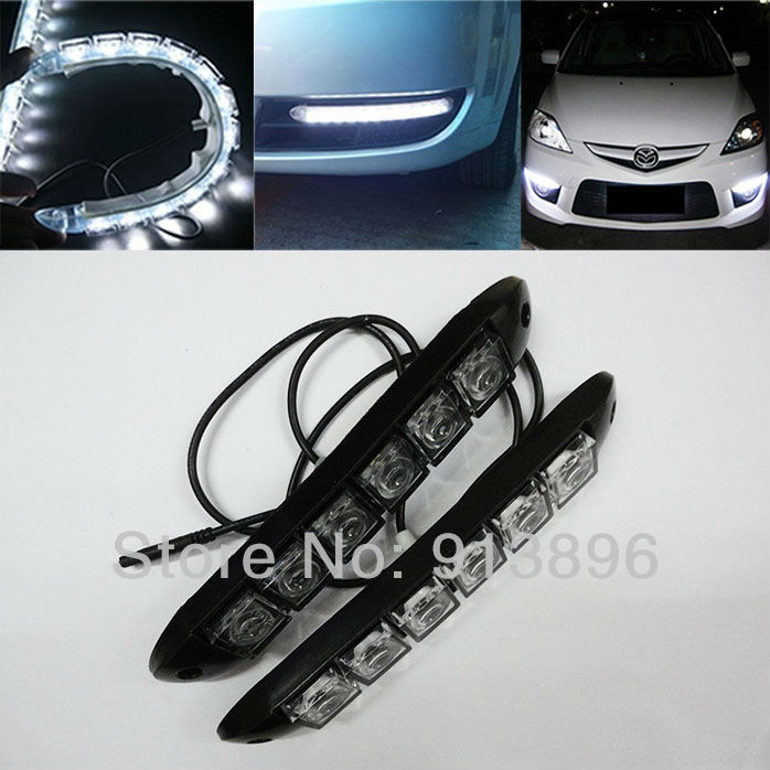 Free DHL Shipping (some not) lot 4Pairs Flexible 6x LED light bar auto DRL Lens led lights Waterproof universal daytime lights(China (Mainland))
