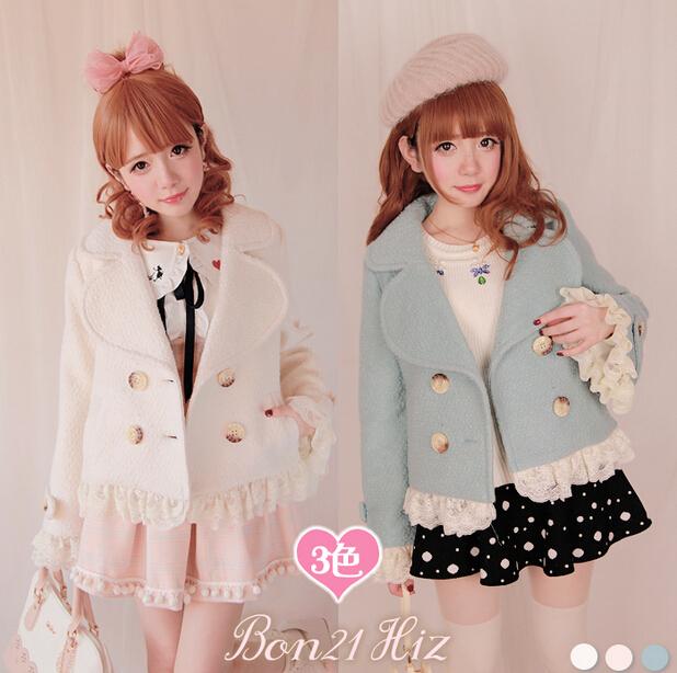 Princess sweet lolita BOBON21 Exclusive original design Love lapel  lace wool sweet  princess Three color options  C1107Одежда и ак�е��уары<br><br><br>Aliexpress
