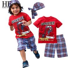 boys sets casual clothes baby boy shorts Cartoon suits summer short sleeve T-shirt + plaid pants + hat 3 pieces clothing set(China (Mainland))