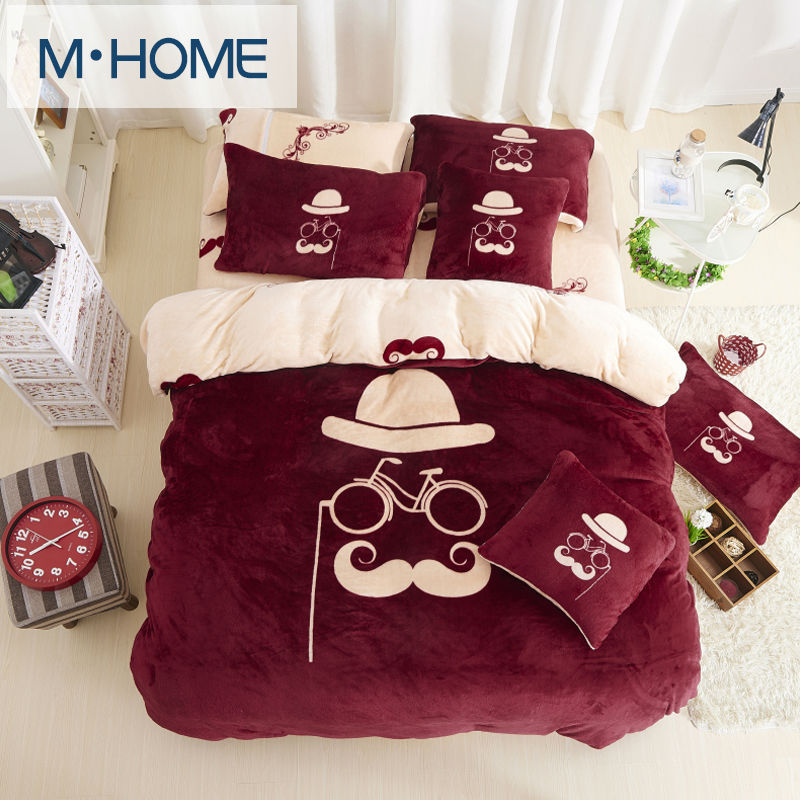 Winter coral fleece bedding set Soft velvet fashion thickening solid color double short keep warm flannel bed duvet covers set(China (Mainland))