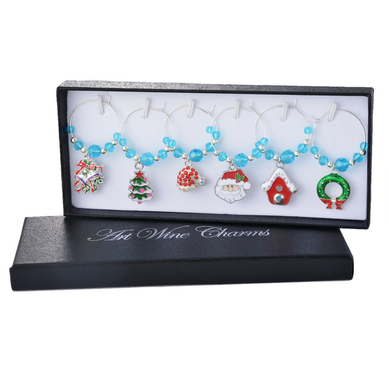 1Box Crystal Charms Wine Glass Charms Christmas Collection Pendant Christmas Glass Marker Party Dinner Table Decoration(China (Mainland))