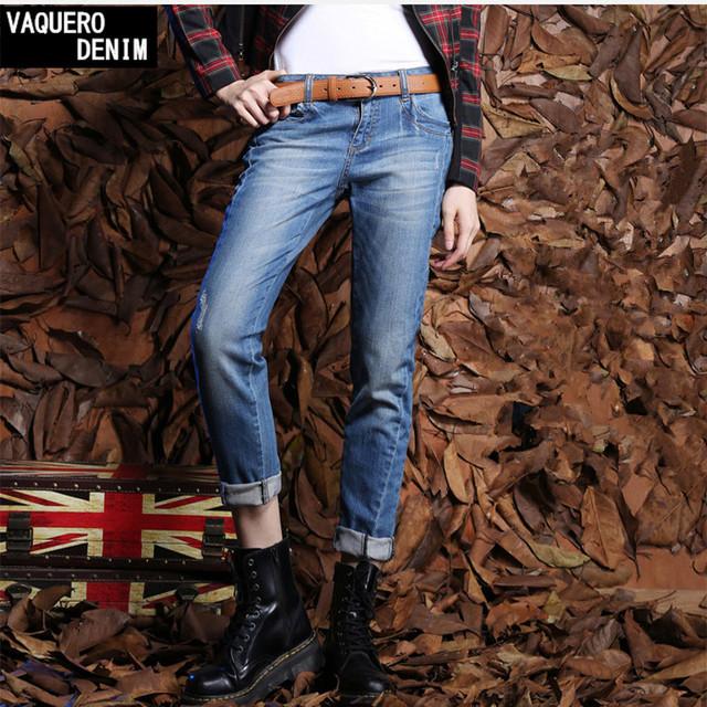 Бойфренд джинсы для женщин 2015 продвижение продажи старинные середине регулярные ...