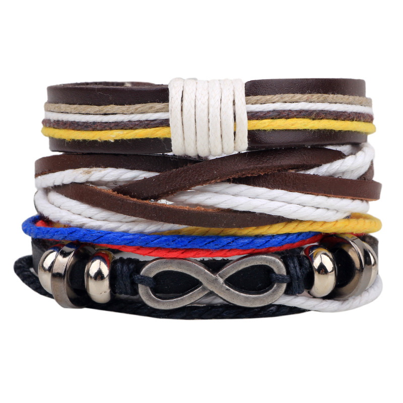 ER 2016 New Smmuer Infinity Bracelet Leather Male Female Wrap Braided Rope Bangle Men Twist Hemp Bracelets Beads LB135(China (Mainland))