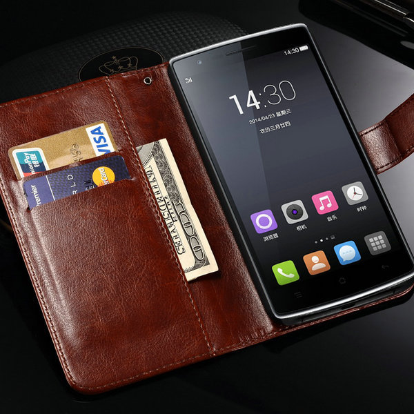 Luxury Wallet with Card Holder Stand PU Leather Case for Oneplus One Plus Phone Bag Vintage Cover Black Brown(China (Mainland))