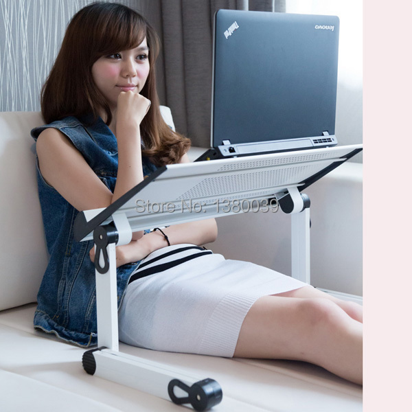 Adjusting portable folding laptop bed table white color with super big fan and plastic mouse pad book clamping(China (Mainland))